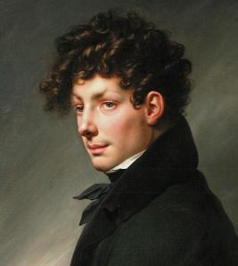"""Anne-Louis Girodet. """"Portrait d'homme en chasseur"""" (Détail). Paris, Musée du Louvre"""