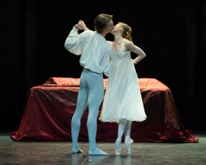 Daria Klimentová and Vadim Muntagirov during a rehearsal for English National Ballet's Romeo & Juliet at The Royal Albert Hall, London on June 10, 2014. Photo: Arnaud Stephenson Courtesy of ENB.