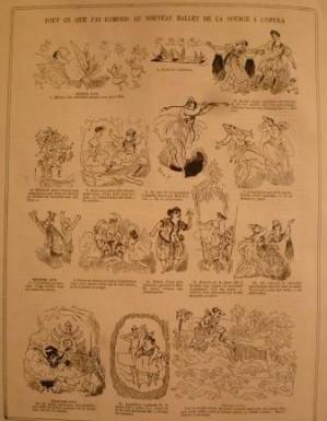 """""""La Vie Parisienne"""". Page de caricature de Felix Y sur le nouveau ballet """"La Source"""". parue le 17 novembre 1865."""