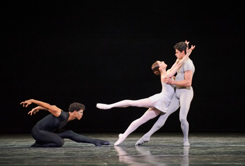Triple Bill-Royal Ballet-: ROH. Photographed by Tristram Kenton. Carlos Acosta as The Messenger of Death, Marianela Nuñez and Thiago Soares in Song of the Earth.