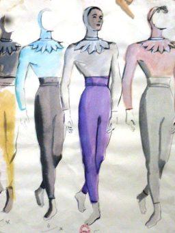Projet de costumes masculins pour Sérénade par Andre Delfau, 1947.