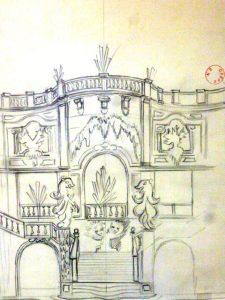Dessin préparatoire pour le décor du Palais de Cristal par Léonore Fini (1947)